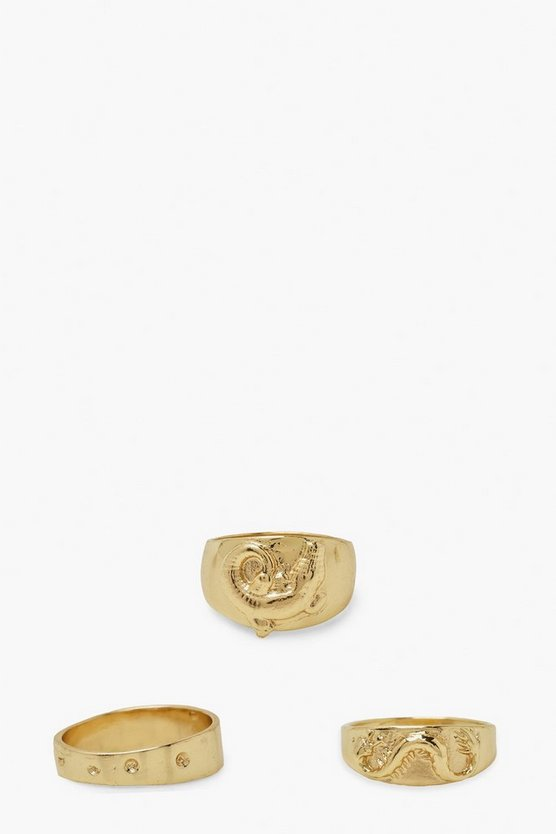 Womens Dragon And Croc Chunky Ring Pack - Gold - M
