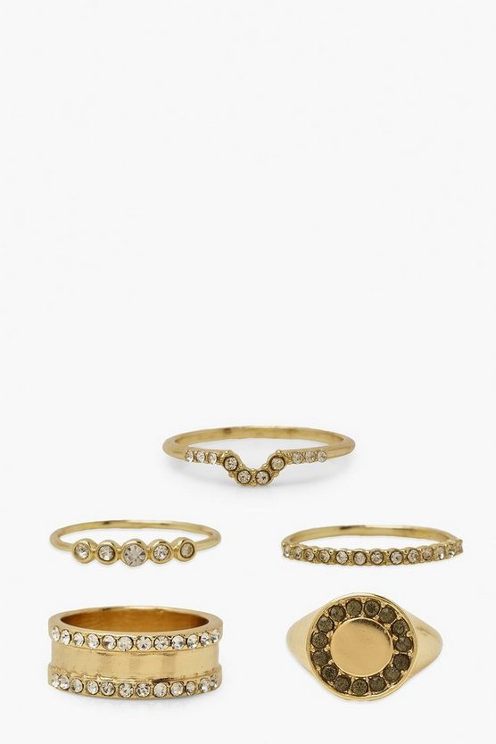 Womens Diamante Finishes Ring Pack - Gold - M