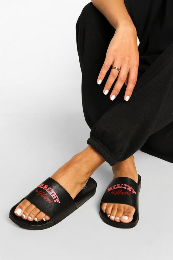 Womens Healthy And Happy Slider - Black - 40
