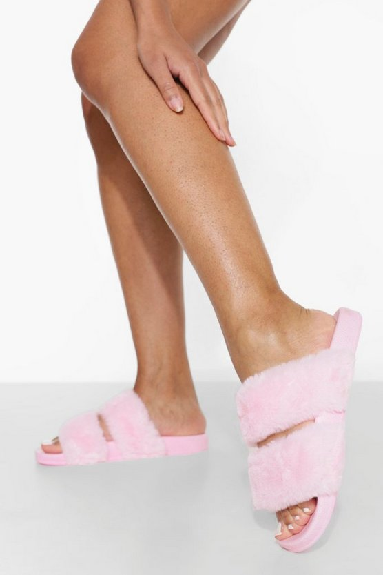 Womens Double Strap Fluffy Sliders - Pink - 41