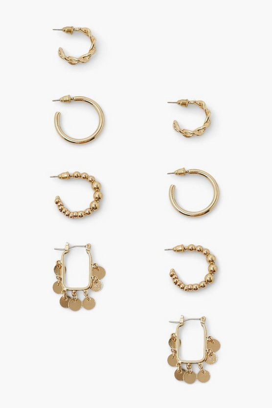 Womens Chain Dangle Disc Ring Hoop Pack - Gold - One Size