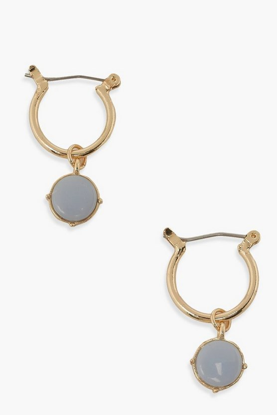 Womens Blue Misty Stone Hoops - Gold - One Size