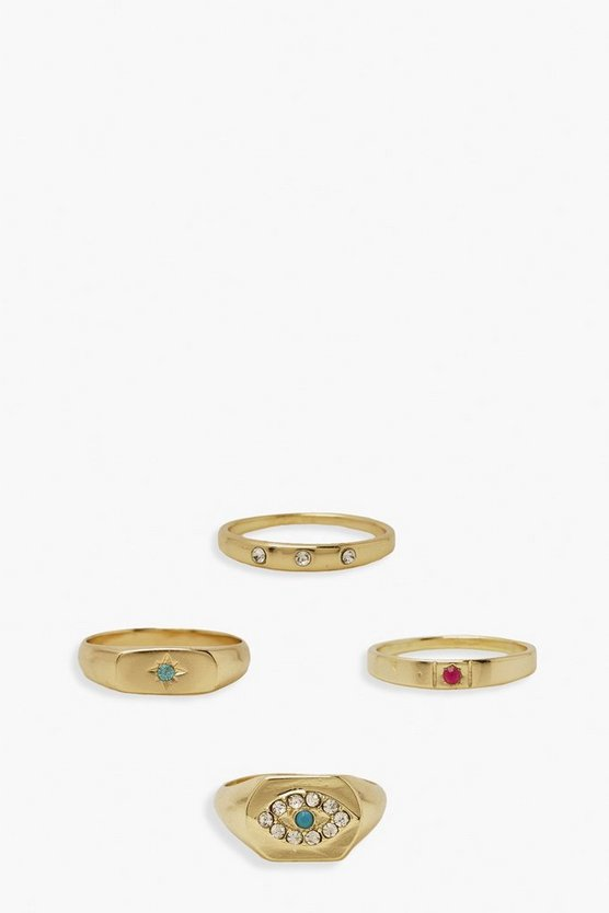 Womens Mix Stone Evil Eye Ring Pack - Gold - S