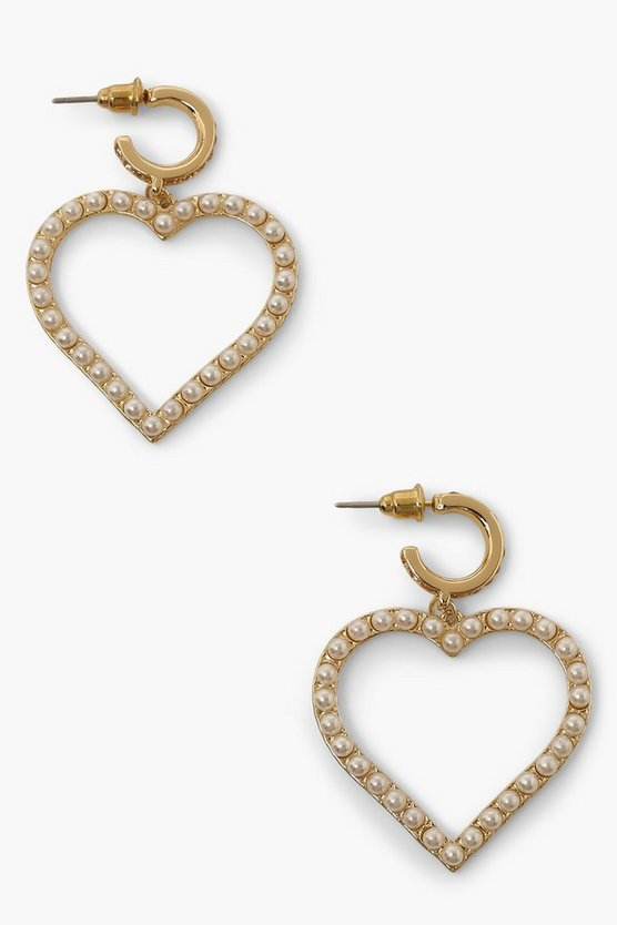 Womens Pearl & Pink Diamante Heart Earrings - Gold - One Size