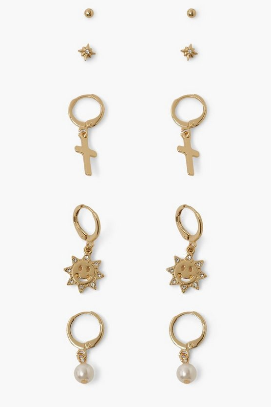 Womens Happy Sun And Cross Earring Pack - Gold - One Size