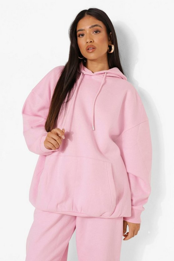 Womens Petite Recycelter Oversize Hoodie - Pale Pink - 30