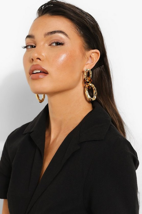 Womens Tort Resin Chain Link Earrings - Gold - One Size