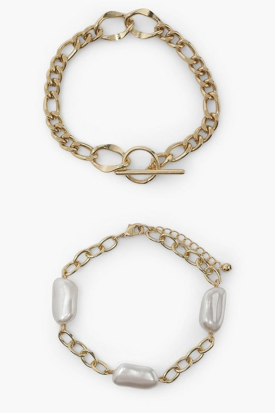 Womens Pearl Stone 2 Pack Bracelet Set - Gold - One Size
