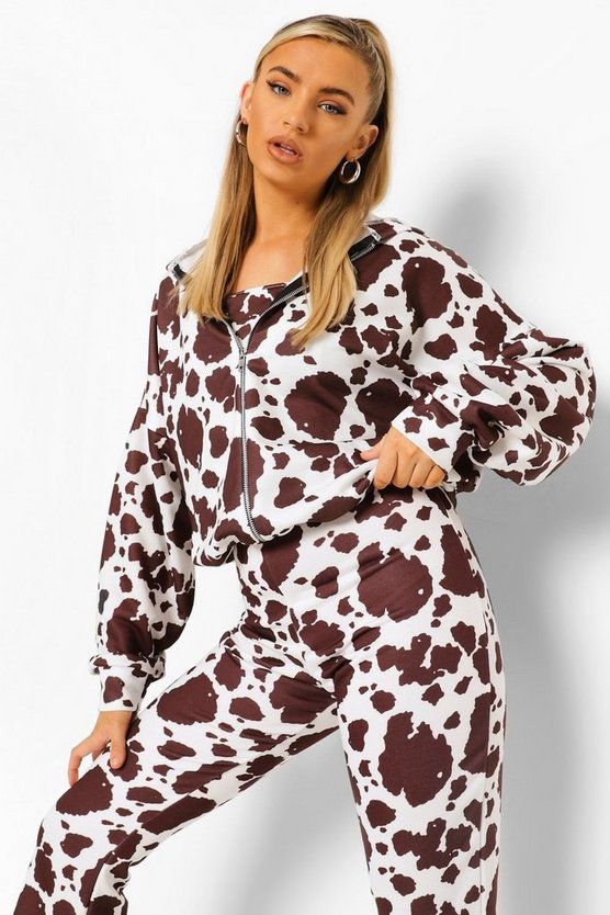Womens Cow Print Oversized Zip Through Hoodie - Brown - M