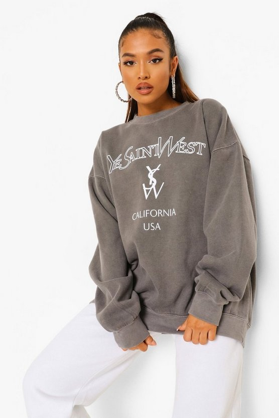 Womens Petite Ye Saint West Overdyed Sweat - Charcoal - M