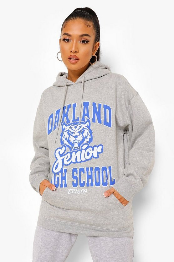 Womens Petite Oversized Oakland Printed Hoody - Grey - M