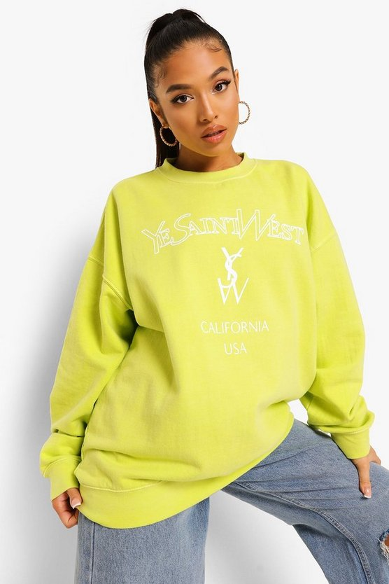 Womens Petite Ye Saint West Overdyed Sweat - Lime - M