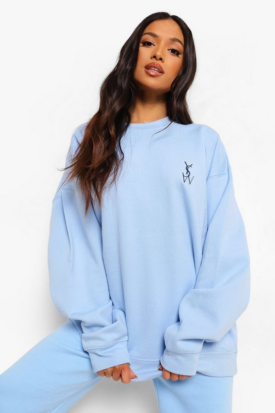 Womens Petite Ysw Pocket Embroidered Oversized Sweat - Blue - M