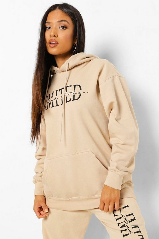 Womens Petite Limited Edition Printed Hoodie - Sand - M