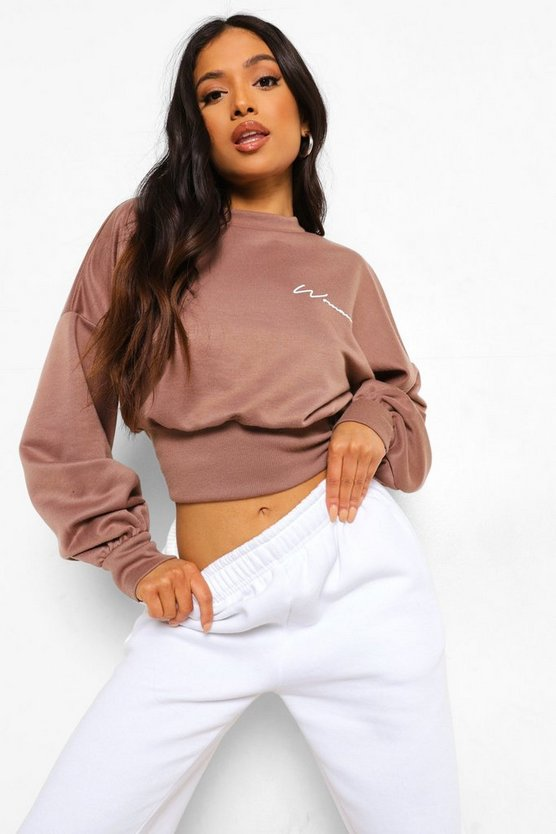 Womens Petite Woman Crop Sweatshirt - Chocolate - 42
