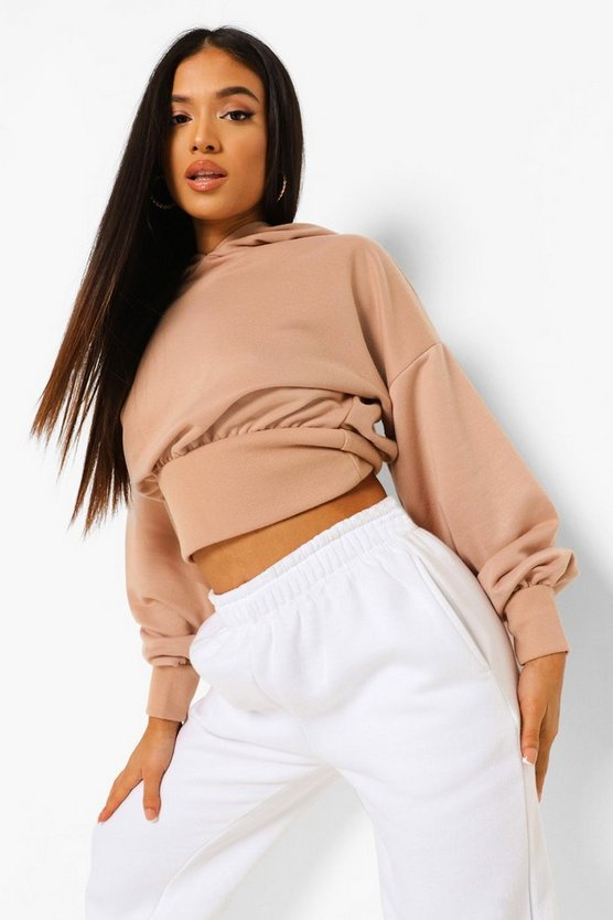 Womens Petite Crop Balloon Sleeve Hoody - Sand - 42