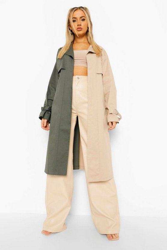Womens Colour Block Belted Trench Coat - Khaki - 42