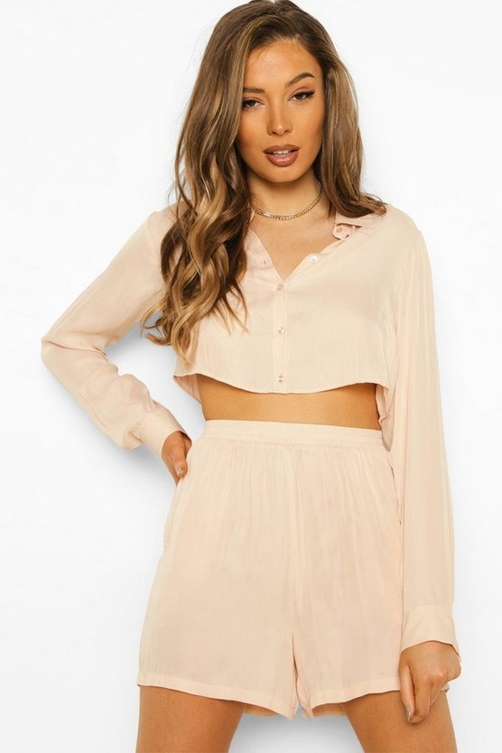 Womens Satin Cropped Shirt And Short Co-Ord - Champagne - 42