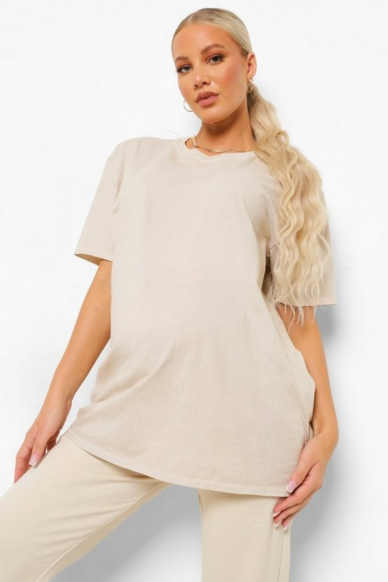 Womens Maternity Washed Oversized T-Shirt - Light Stone - 42