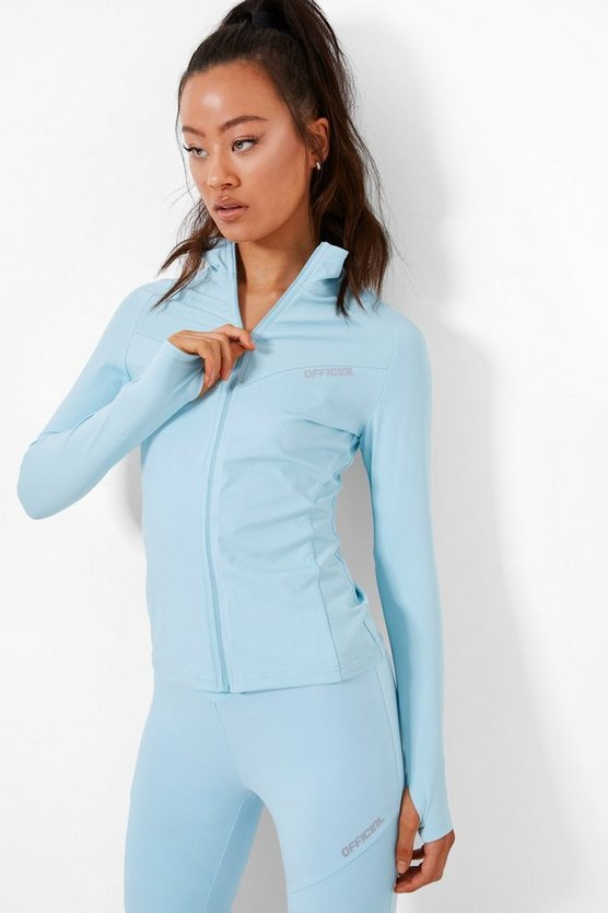 Womens Active Ribbed Funnel Neck Jacket - Blue - 42