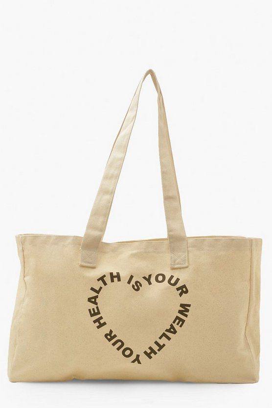 Womens Health Is Wealth Slogan Canvas Tote - Cream - One Size