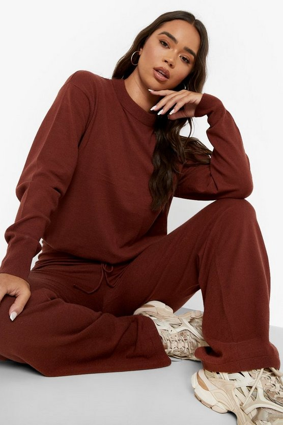 Womens Gestricktes Co-Ord Mit Geraffter Taille - Rust - M