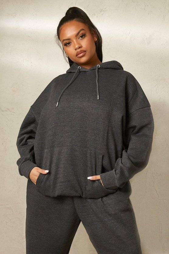 Womens Plus Recycelter Basic Oversize Hoodie - Charcoal - 46