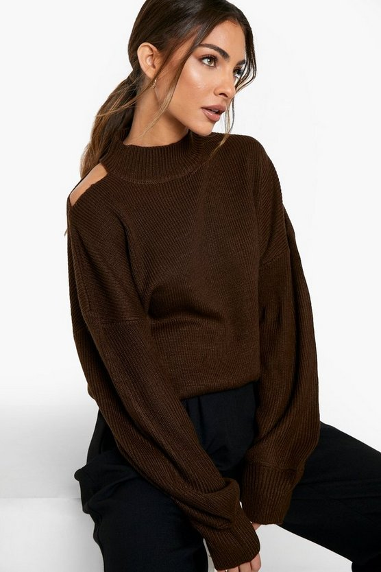 Womens Pullover Mit Cut-Out Schulter - Chocolate - L