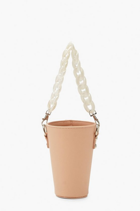 Womens Chain Handle Cup Holder - Dusky Pink - One Size