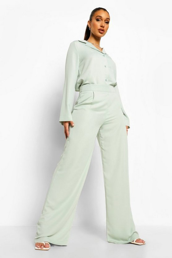 Womens Weite Hose In Relaxed Fit Aus Mattem Satin - Hell-Khaki - 38