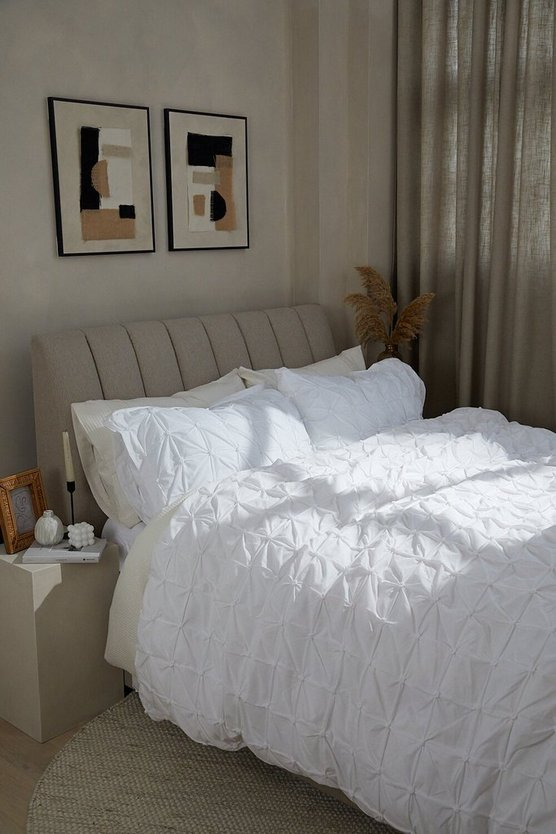 Womens White Rouched Pleat Double Duvet Set - One Size