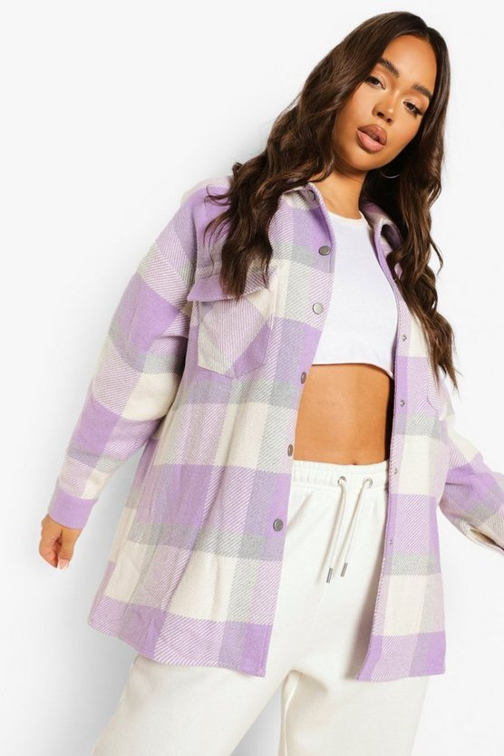 Womens Lilac Oversized Check Shacket - 38