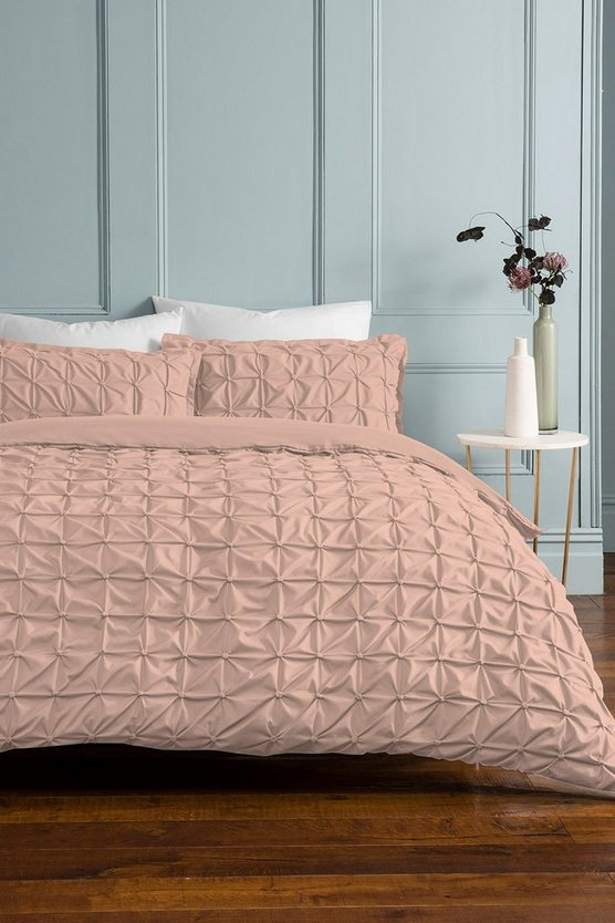 Womens Pink Rouched Pleat Double Duvet Set - Blush - One Size