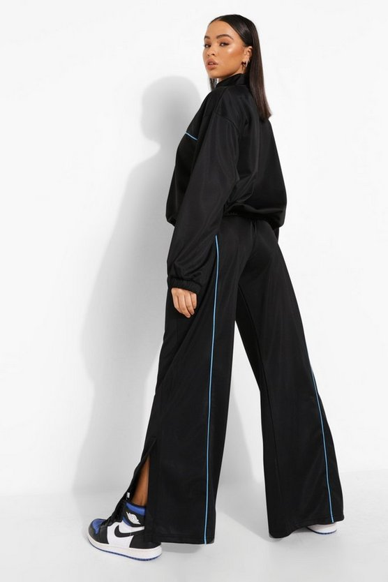 Womens Contrast Piping Jogger - Black - M
