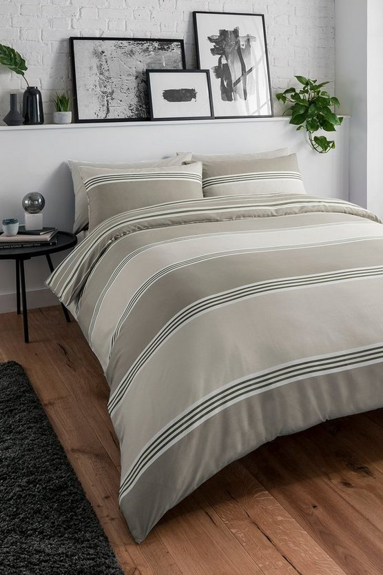 Womens Natural Banded Stripe Double Duvet Set - One Size