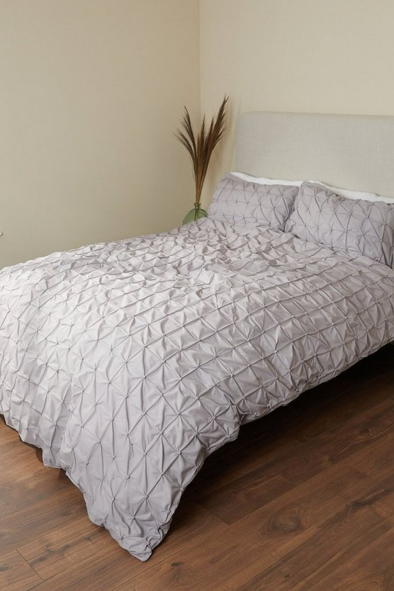 Womens Light Grey Rouched Pleat King Duvet Set - One Size