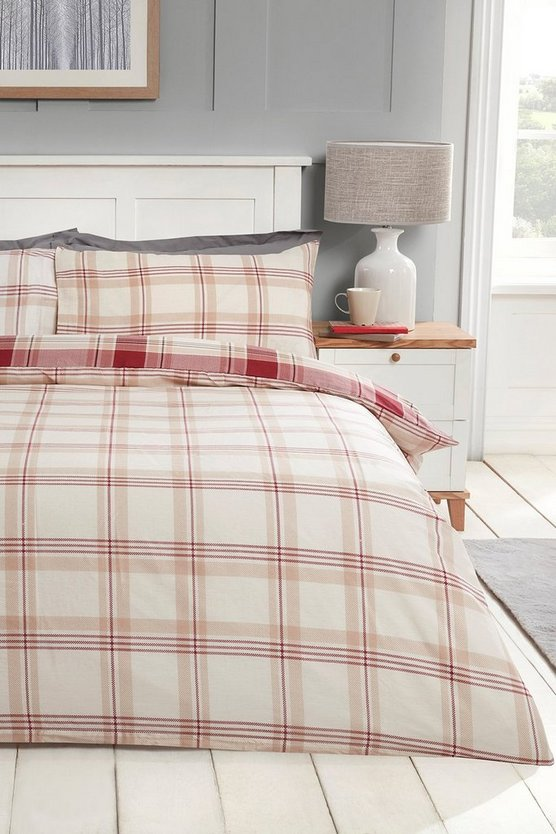 Womens Check Print Super King Duvet Set - Red - One Size
