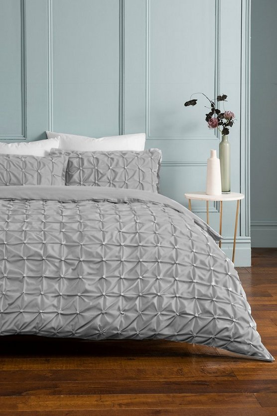 Womens Rouched Pleat Double Duvet Set - Light Grey - One Size