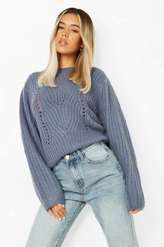 Womens Pointelle Pullover - Slate - Xs