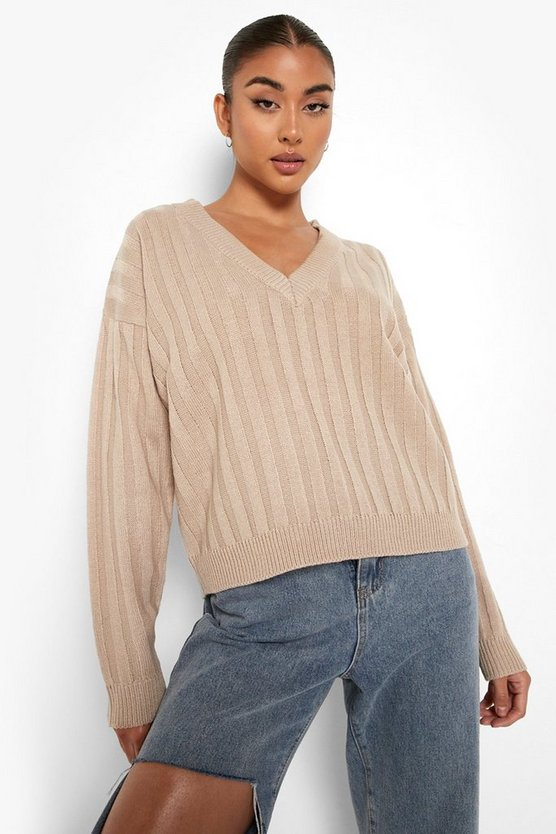 Womens Gerippter Strick-Pullover - Pebble - L