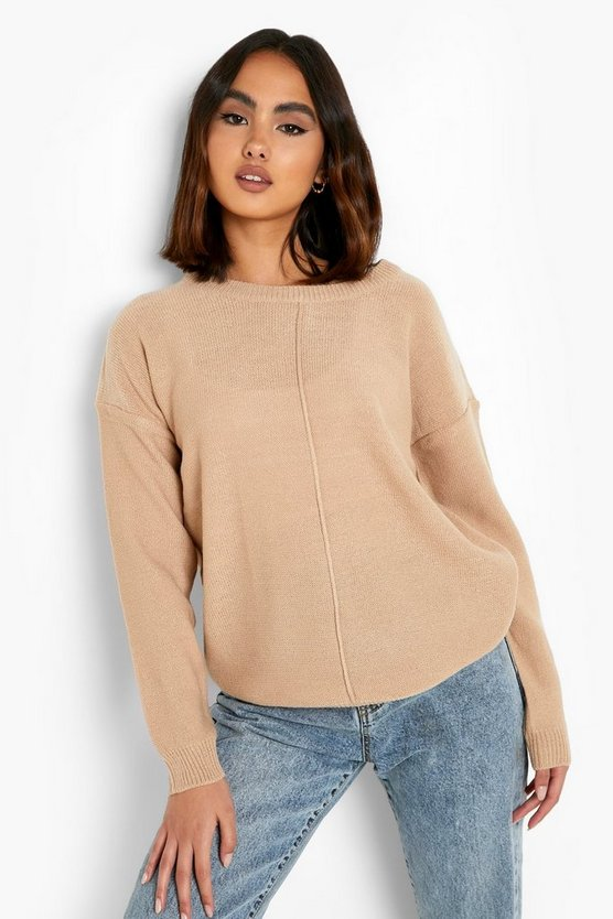 Womens Oversize Pullover - Taupe - Xs