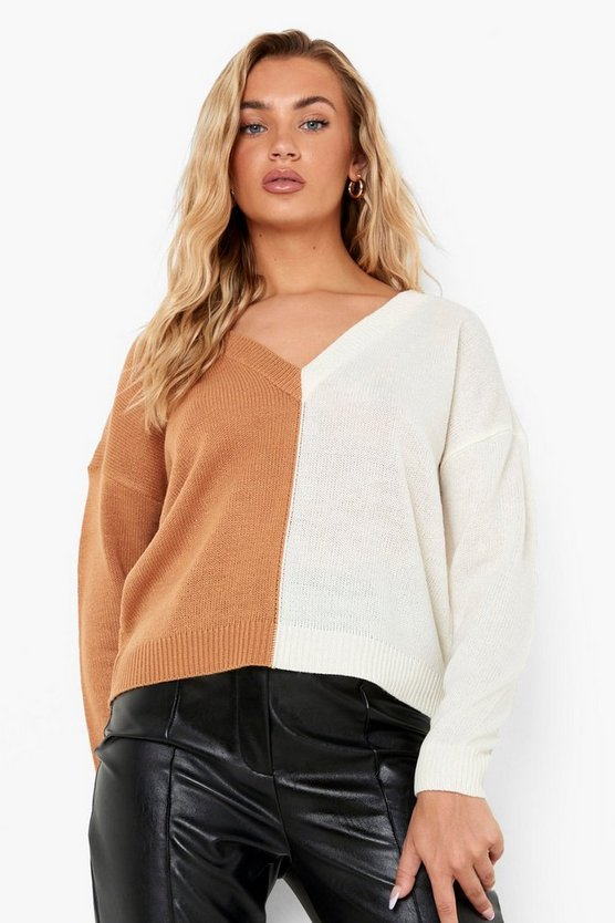 Womens Colorblock Pullover - Camel - M