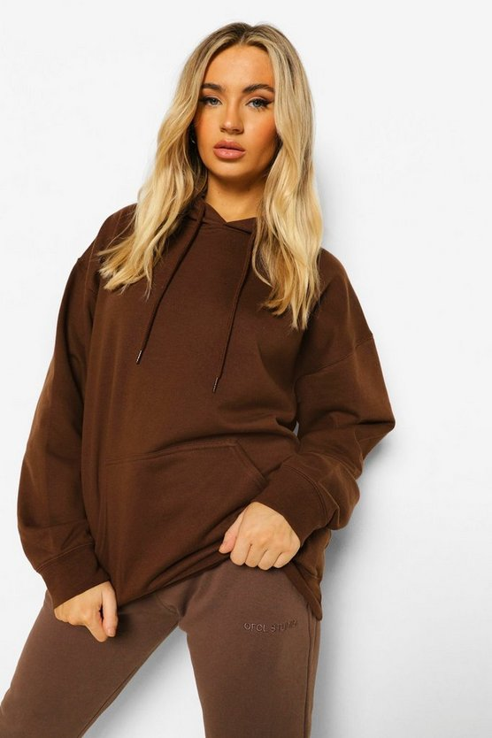 Womens Chocolate Oversized Hoodie - M