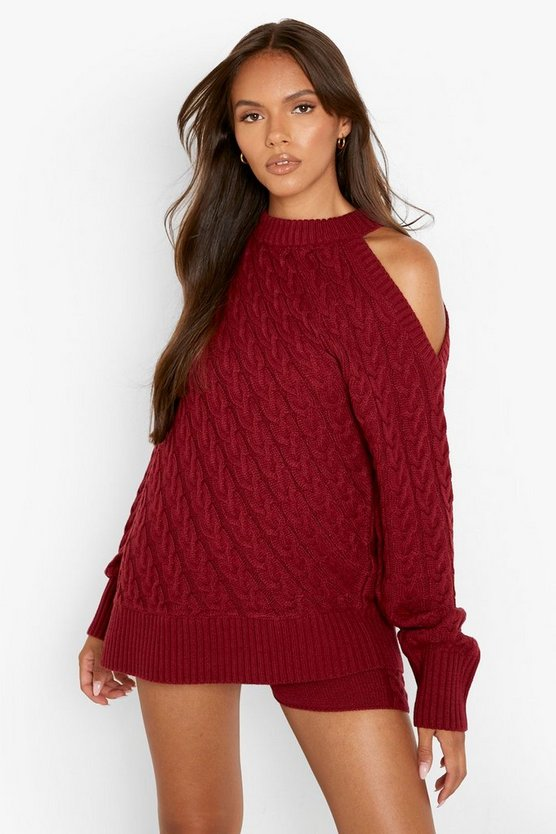 Womens Cut-Out Zopfmuster-Pullover Und Strick-Shorts - Dark Red - M