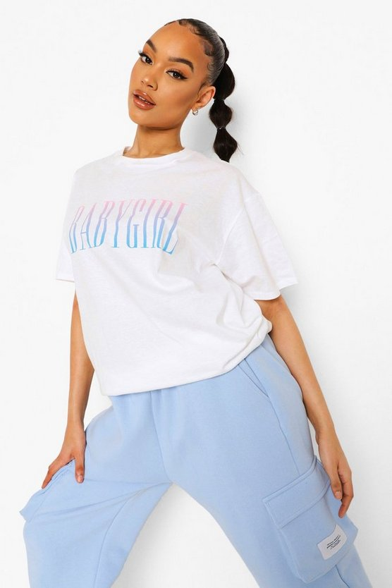 Womens Babay Girl Ombre Print T Shirt - White - Xl