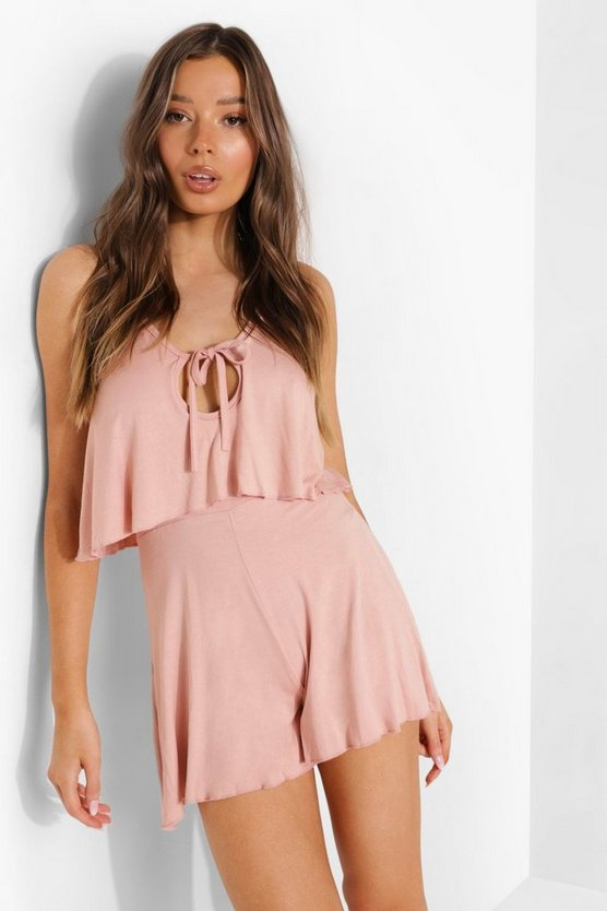 Womens Tie Bust Strappy Playsuit - Blush - 42