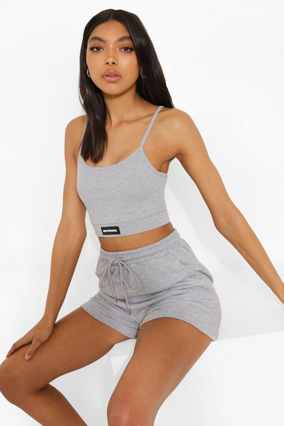 Womens Tall Crop Top And Short Lounge Set - Grey - 44