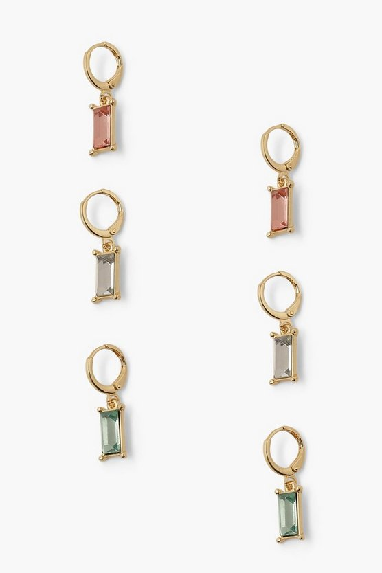 Womens 3 Pack Pastel Tones Diamante Drop Earrings - Gold - One Size