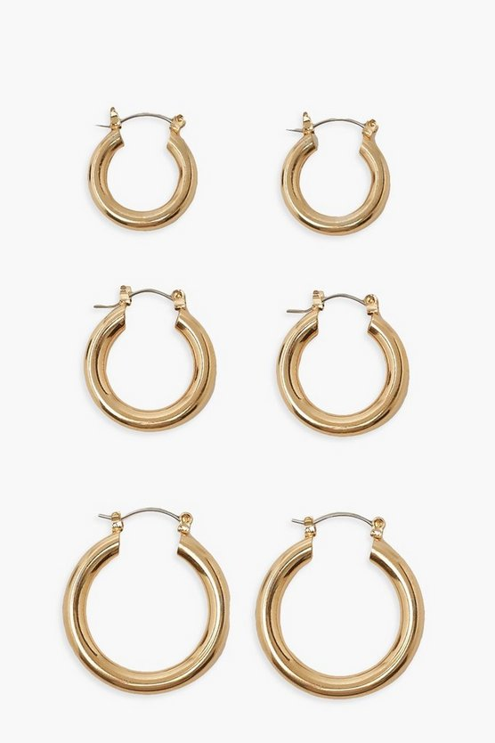 Womens Simple 3 Pack Mix Size Hoop Earrings - Gold - One Size