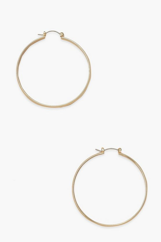 Womens Thick Simple Day Hoop Earrings - Gold - One Size
